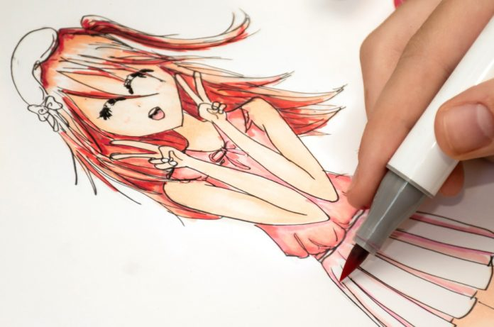 Manga and anime – a hand drawing of a cute girl anime style with alcohol based markers.