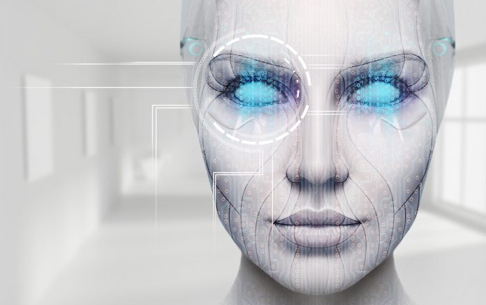 Artist's rendition of a female cyborg's face with glowing blue eyes.