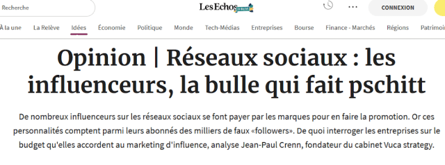 Marketing d'influence strategie ecommerce VUCA JP Crenn Les Echos