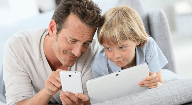 father son smart devices