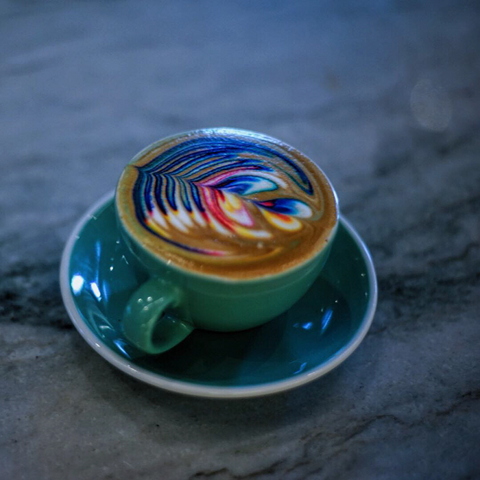 Rainbow Latte Art With Colorful Leaf Patterns Vuing Com