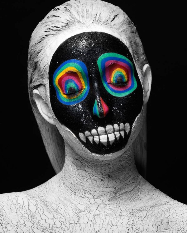 Face paintings by students reinterpreting the artworks of