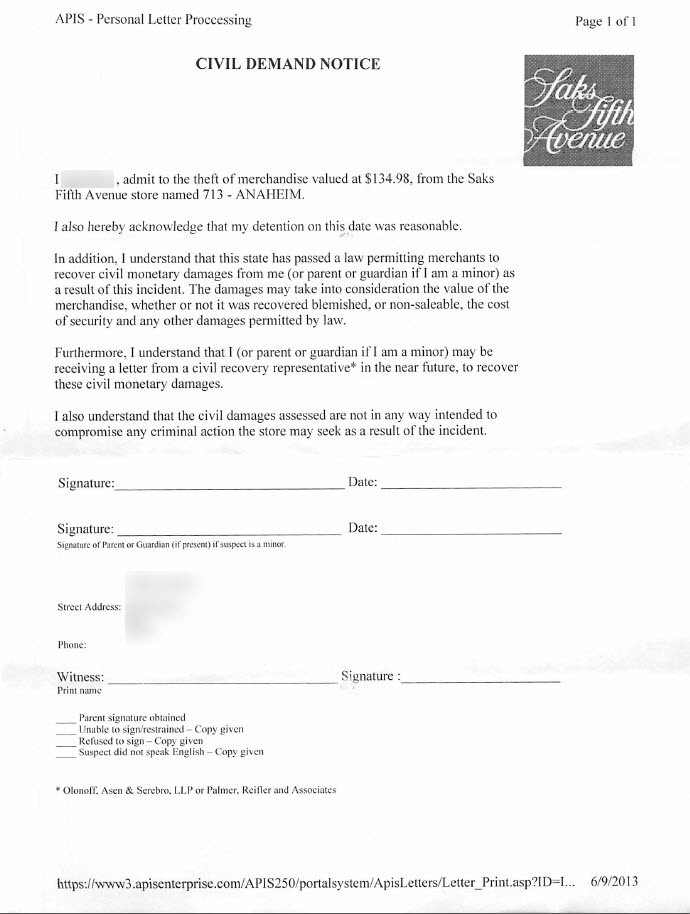 shows the picture of a civil demand letter given to shoplifters