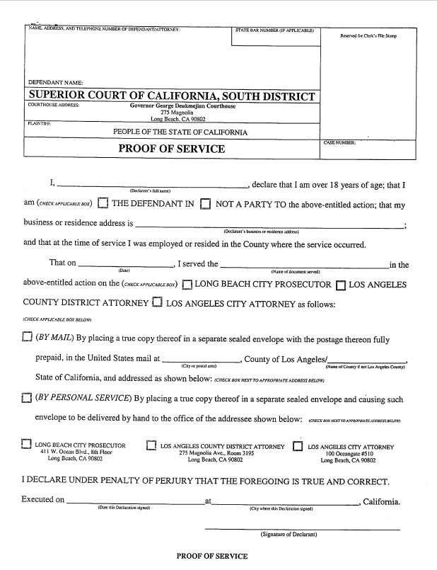 Shows the proof of service which is used at the Long Beach Courthouse.