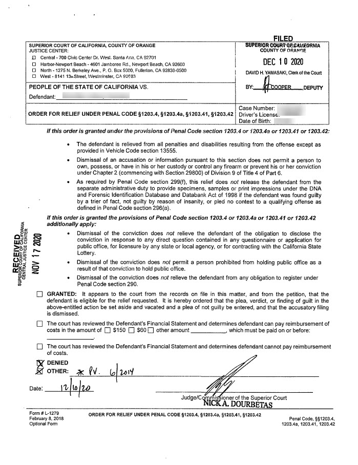 Shows the picture of a denied expungement peittion in Orange County California