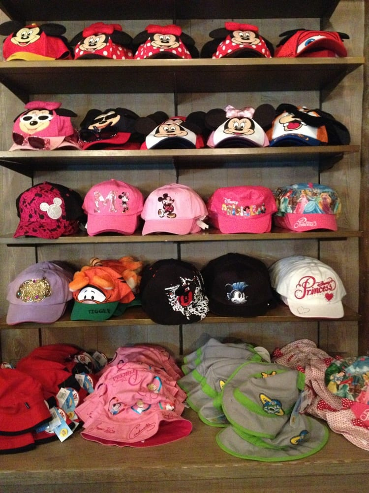 shows hats on display where people would get caught shoplifting at disneyland