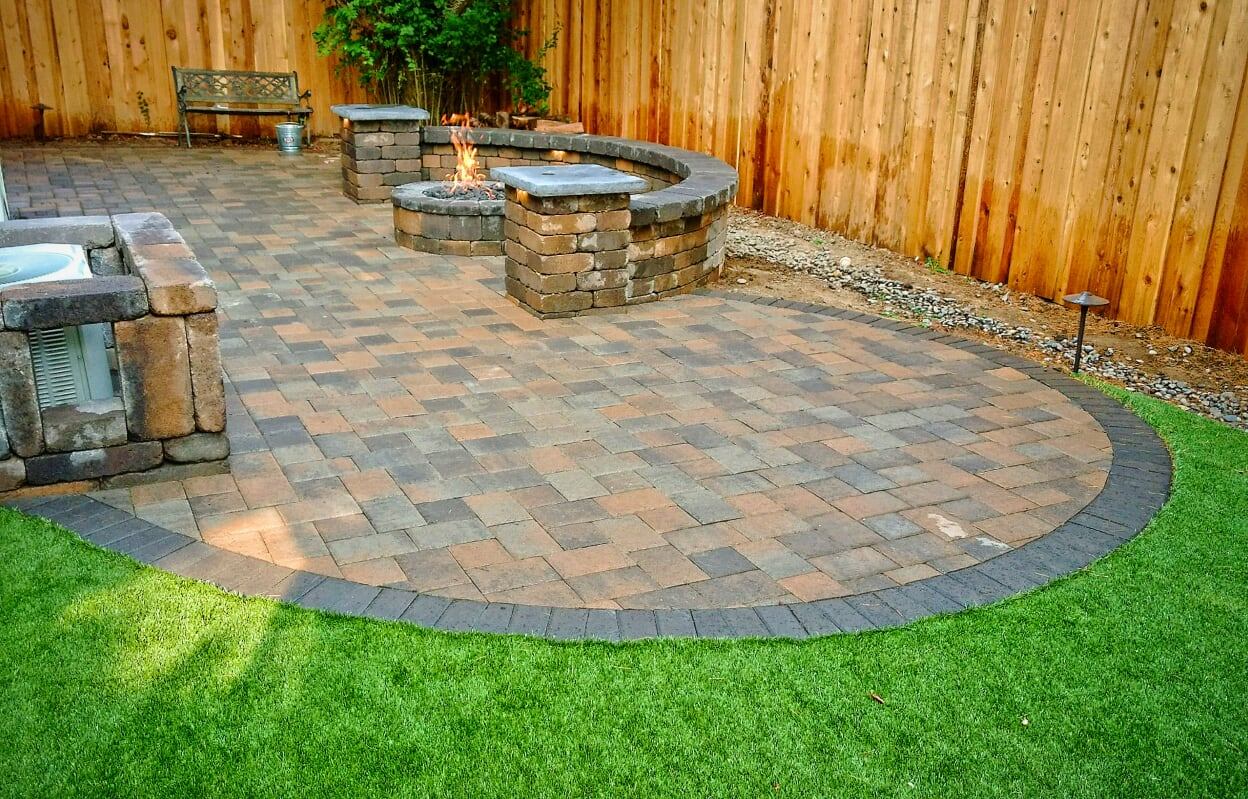 Paver Stone Design & Installation - Vulcan Design ... on Paver Patio Designs With Fire Pit id=90159