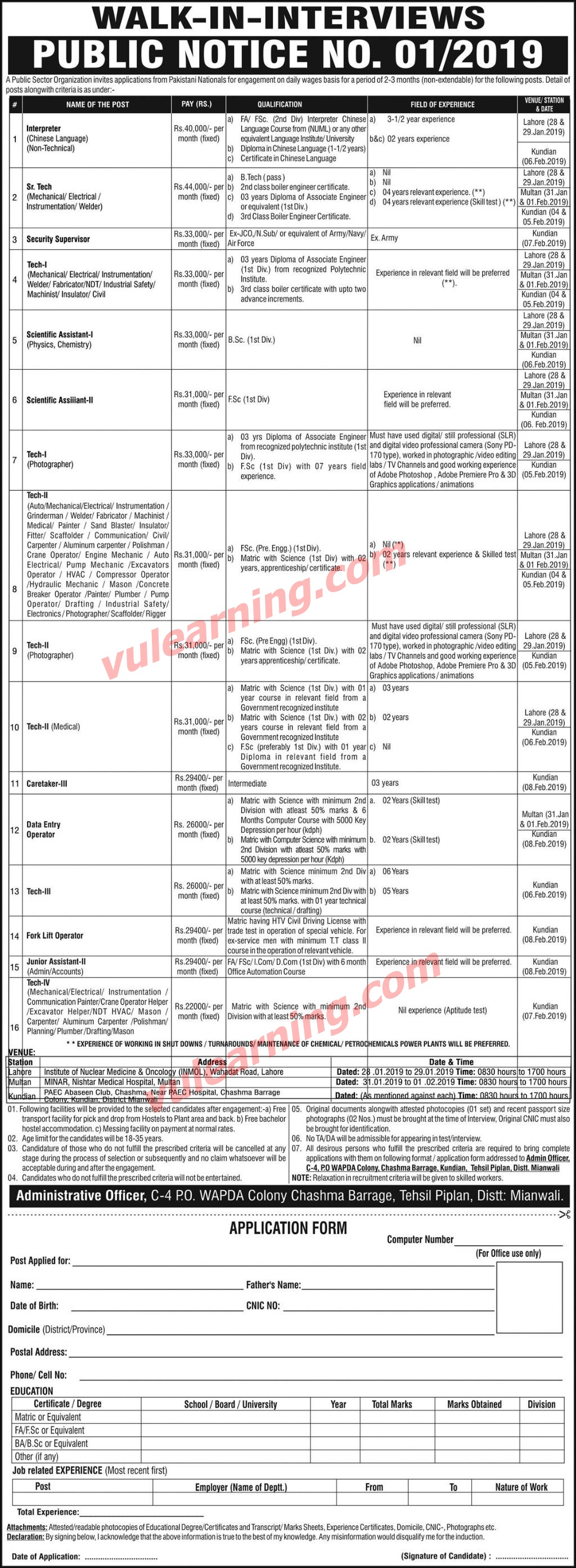 Paec Mianwali Jobs Application Form Download C 4 Po
