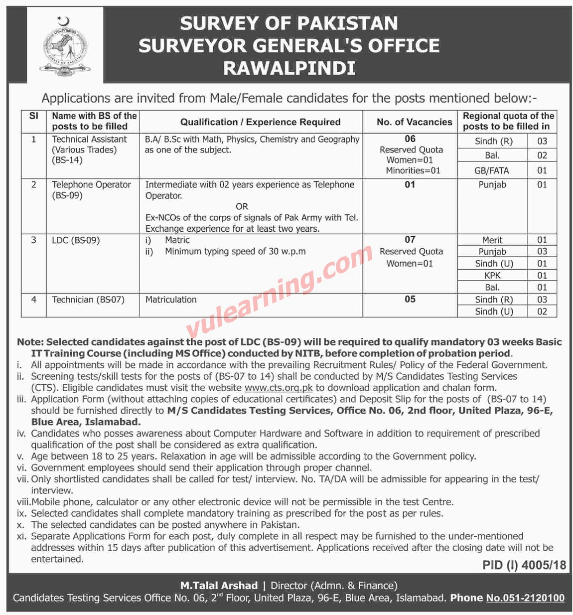 Surveyor General Office Rawalpindi Jobs March Cts Application Form Clerks Technical