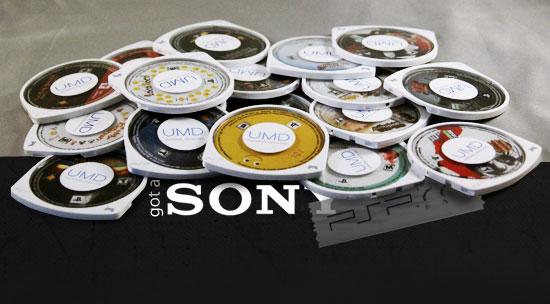 Sony PSP UMDs stacked