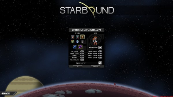 Starbound character creation menu