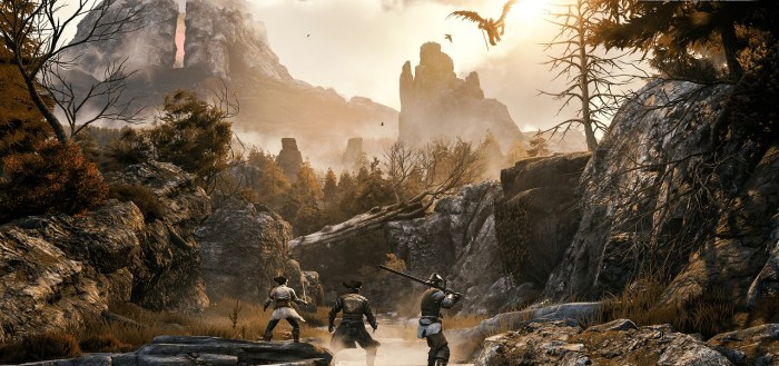 greedfall in the wilds with party