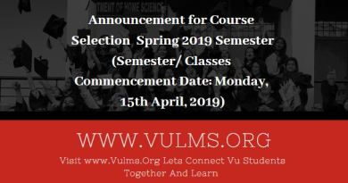 Announcement for Course Selection Spring 2019 Semester