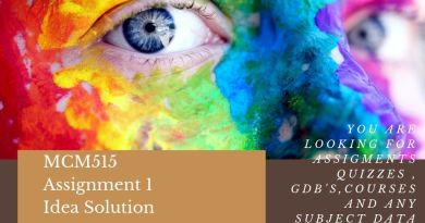 MCM515 Assignment 1 Idea Solution -2019