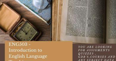 ENG503 - Introduction to English Language Teaching