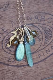 Necklace made with gemstones and a little starfish