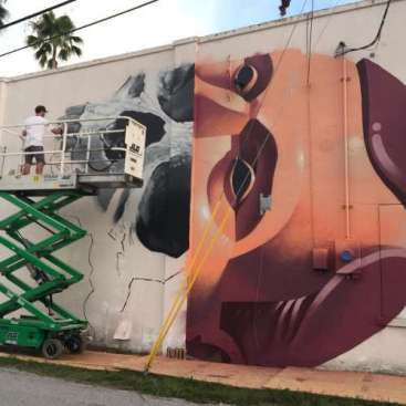(Michael Reeder working on his mural for the Shine Mural Festival 2016 in St. Petersburg, Florida. - Photo credit by http://shineonstpete.com/)