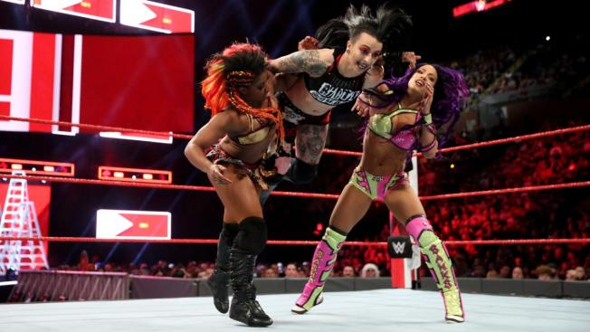 Ember Moon, Ruby Riott, and Sasha Banks