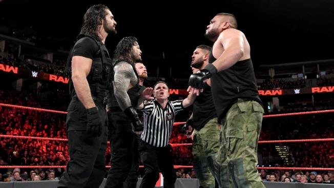The Shield face off against AOP and Baron Corbin