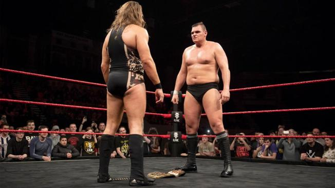 Pete Dunne and his future challenger stare each other down