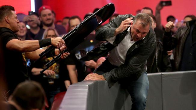 The Miz hit Shane McMahon with a chair over the barricade