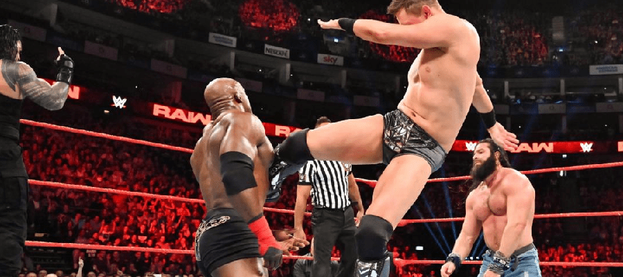 The Mix kicks Bobby Lashley, Elias in background.