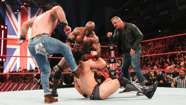 Shane McMahon, Elias, and Bobby Lashley beat on The Miz