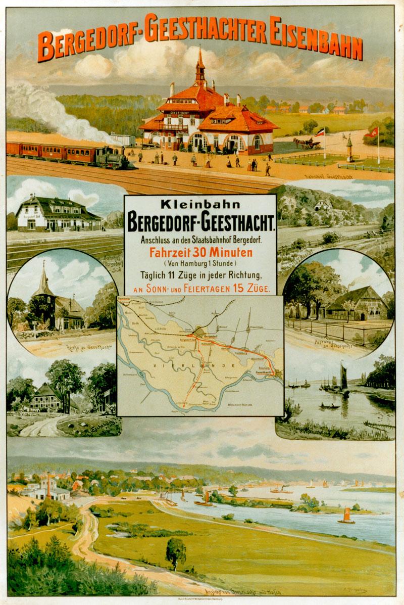 Plakat der Bergedorf Gesthachter Eisenbahn von 1907