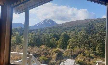 Waihohonu Hut Tongariro Northern Circuit View of Mount Ngauruhoe