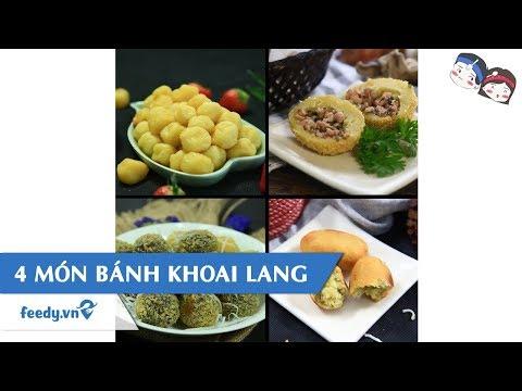 cách nấu khoai lang - Hướng dẫn cách làm 4 MÓN BÁNH KHOAI LANG   Feedy VN