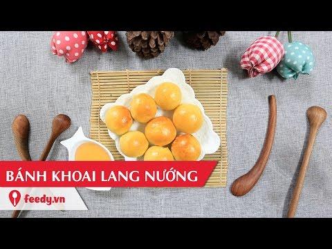 hướng dẫn nướng khoai lang bằng lò nướng - Hướng dẫn cách làm bánh khoai lang nướng - Baked sweet potato cake với #Feedy