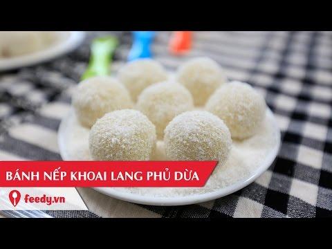 hướng dẫn làm mứt khoai lang - Hướng dẫn cách làm bánh nếp khoai lang phủ dừa - Sticky rice balls