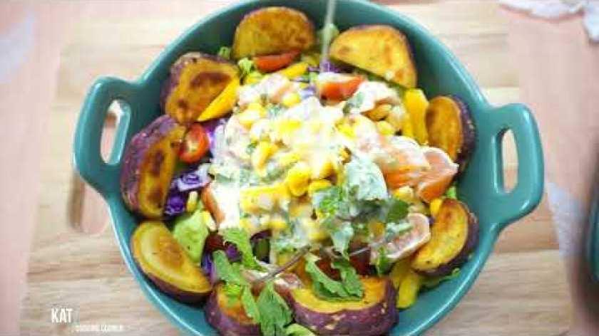 cách nấu khoai lang mật - #1. Salad khoai lang, rau củ, sốt sữa chua mật ong