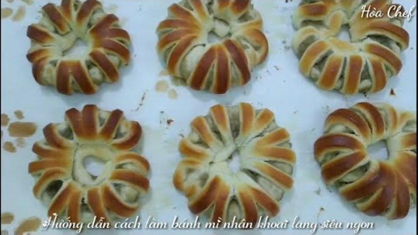 hướng dẫn làm bánh khoai lang - Hướng dẫn cách làm bánh mì nhân khoai lang (sweet potato bread) siêu ngon - Hòa Chef