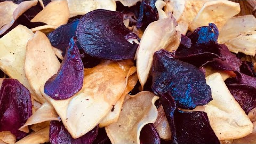 hướng dẫn nướng khoai lang bằng lò nướng - Cách làm snack khoai lang giòn rụm thơm ngon - crispy sweet potato chips..