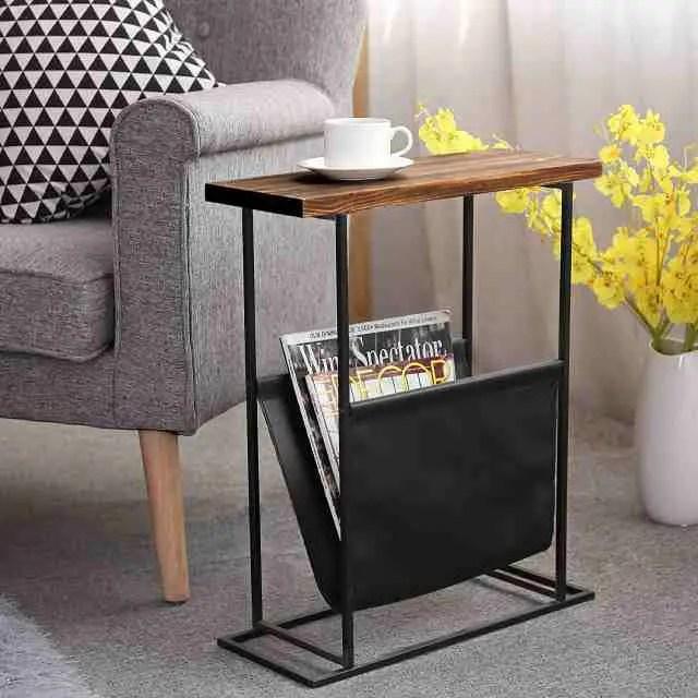 side tables with magazine storage racks