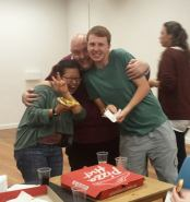 Loving pizza and making friends at our March 2015 public meeting