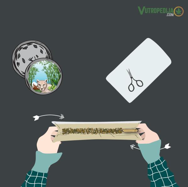 Kako smotati joint? Poližite kraj i pažljivo prstohvatom zalijepite ljepljivi dio rizle.