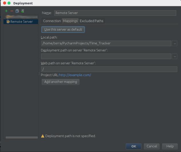 Pycharm deployment settings mapping tab
