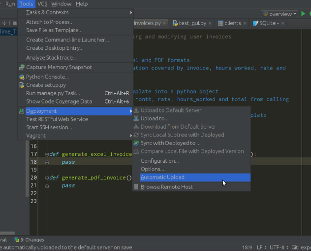 Pycharm setting for automatic deployment