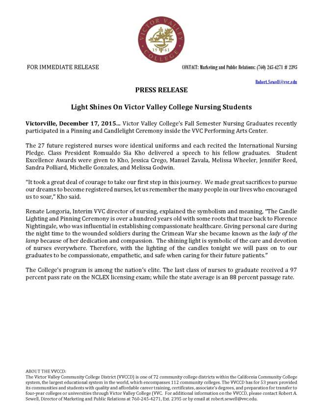 2015 12 17 -Light Shines On Victor Valley College Nursing Students