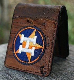 bi-fold wallet made from Nokona baseball glove leather with Houston Astros insignia