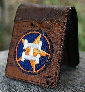 bi-fold wallet made from Nokona baseball glove leather with Houston Astros insignia