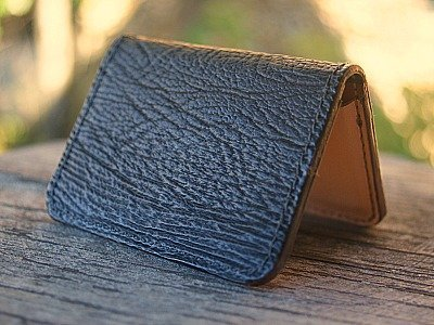 Black Business Card Holder In Sharkskin With Kangaroo Leather Lining