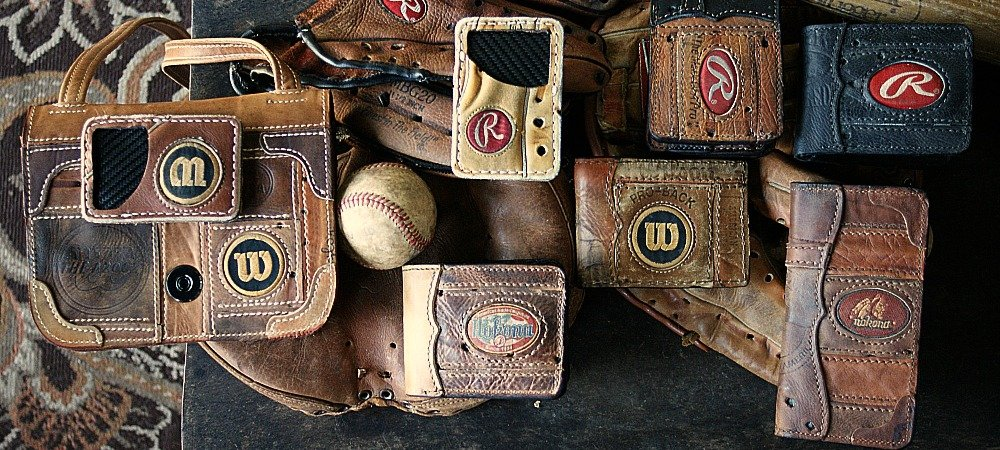 baseball glove leather items -- wallets, travel cases
