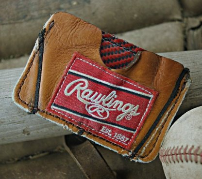 Recycled Baseball Glove Leather Card Case