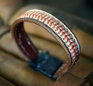 Cool Bracelets Made from Baseball Leather
