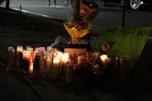 Many candles were left lit  in memory of Daniel.