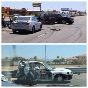 4 vehicle collision on Southbound 15 freeway Tuesday