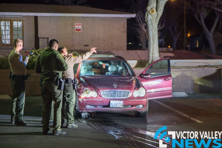 A maroon Mercedes believed to be the involved vehicle was found abandoned in front of a liquor store on La Paz and Pamela Ave. (Gabriel D. Espinoza, Victor Valley News)
